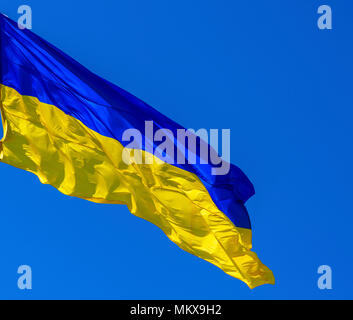 the textile flag of Ukraine develops against a clear blue sky, the state symbol of an independent state on a summer sunny day - Stock Photo
