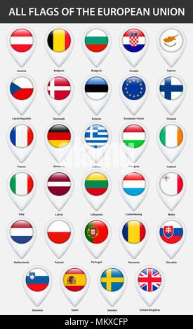 All flags of the countries of the European Union. Pin map pointer glossy style. - Stock Photo