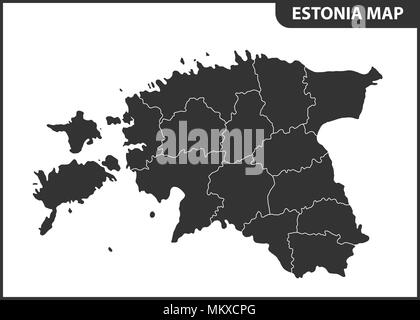 The detailed map of Estonia with regions or states. Administrative division - Stock Photo