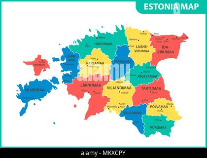 The detailed map of Estonia with regions or states and cities, capital. Administrative division - Stock Photo