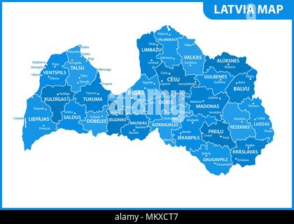 The detailed map of Latvia with regions or states and cities, capital. Administrative division - Stock Photo