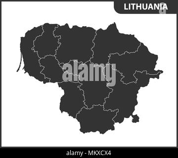 The detailed map of Lithuania with regions or states. Administrative division - Stock Photo
