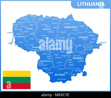 The detailed map of Lithuania with regions or states and cities, capital. Administrative division - Stock Photo