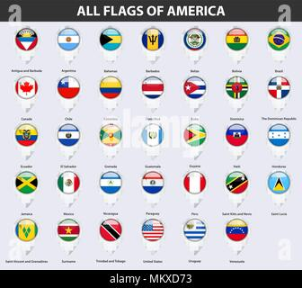 All flags of the countries of America. Pin map pointer glossy style. - Stock Photo