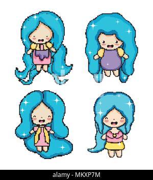 Pixel Art Cute Girl Stock Vector Art Illustration Vector
