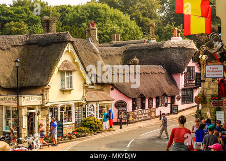Seaside town of Shanklin, Isle of Wight, United Kingdom;  August 27, 2016; View of main street of the downtown area; people walking in the street; - Stock Photo