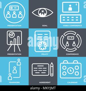 Set Of 9 simple editable icons such as Calendar, Agreement, Teamwork, Conference, Policy, Presentation, Video conference, Goal, can be used for mobile - Stock Photo