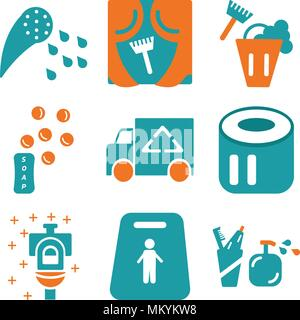 Set Of 9 simple editable icons such as Toothbrush, Slippery, Toilet, Toilet paper, Van, Soap, Bucket, Window, Shower, can be used for mobile, web - Stock Photo