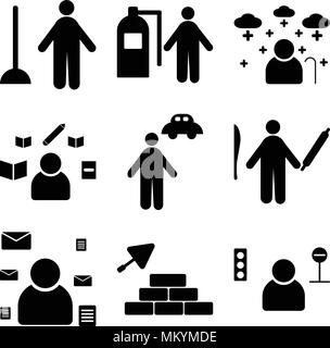 Set Of 9 simple editable icons such as Taxi driver, Construction worker, Postman, Chef, Chauffeur, Writer, Pensioner, Firefighter, Plumber, can be use - Stock Photo