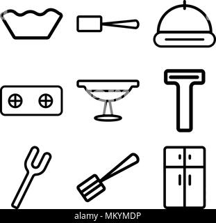 Set Of 9 simple editable icons such as Fridge, Spatula, Fork, Bottle opener, Platter, Stove, Tray, Scoop, Mould, can be used for mobile, web - Stock Photo