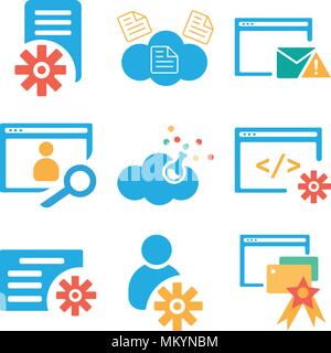 Set Of 9 simple editable icons such as Browser, User, File, Cloud computing, can be used for mobile, web - Stock Photo