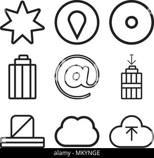 Set Of 9 simple editable icons such as Upload, Computing, Notification, Garbage, At, Visible, Pin, Star, can be used for mobile, web - Stock Photo
