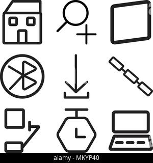 Set Of 9 simple editable icons such as Monitor, Timer, Bell, Link, Download, tooth, Smartphone, Zoom, Home, can be used for mobile, web - Stock Photo