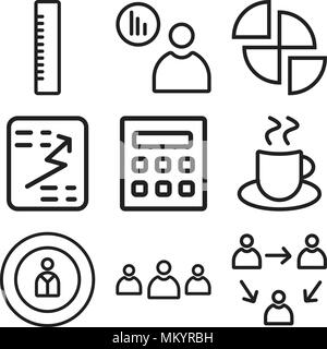 Set Of 9 simple editable icons such as Network, Team, Man, Coffee, Calculator, Report, Pie chart, Presentation, Ruler, can be used for mobile, web - Stock Photo