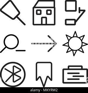 Set Of 9 simple editable icons such as Padnote, Bookmark, tooth, Sun, Right arrow, Zoom out, Bell, Home, Push pin, can be used for mobile, web - Stock Photo