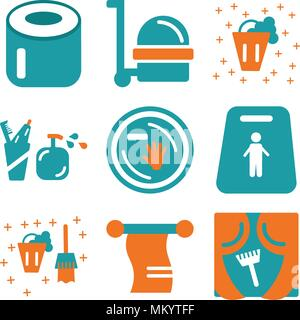 Set Of 9 simple editable icons such as Window, Towel, Bucket, Slippery, Dish, Toothbrush, Cleaner, Toilet paper, can be used for mobile, web - Stock Photo