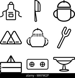Set Of 9 simple editable icons such as Platter, Stove, Juicer, Fork, Sauce, Napkin, Bowl, Knife, Apron, can be used for mobile, web - Stock Photo
