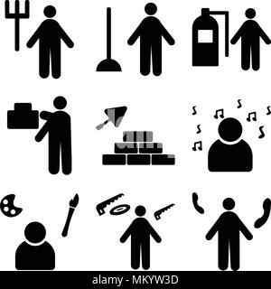 Set Of 9 simple editable icons such as Receptionist, carpenter, Painter, Professor, Construction worker, mover, Firefighter, Plumber, Gardener, can be - Stock Photo