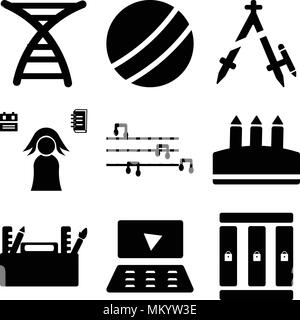 Set Of 9 simple editable icons such as Lockers, Laptop, Folder, Crayon, Flute, Student, Compass, Basketball, Dna, can be used for mobile, web - Stock Photo