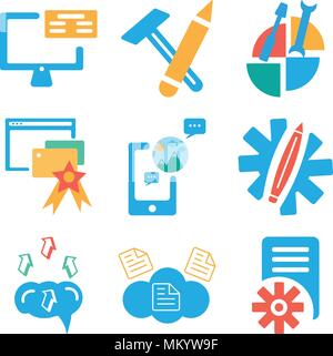 Set Of 9 simple editable icons such as File, Cloud computing, Brain, Settings, Smartphone, Browser, Pie chart, School material, Monitor, can be used f - Stock Photo