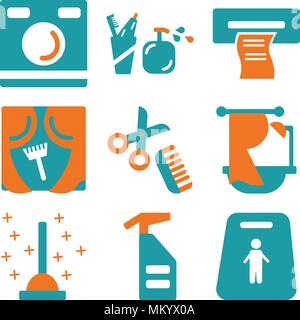 Set Of 9 simple editable icons such as Slippery, Spray, Plunger, Bathtub, Comb, Window, Wipes, Toothbrush, Washing machine, can be used for mobile, we - Stock Photo
