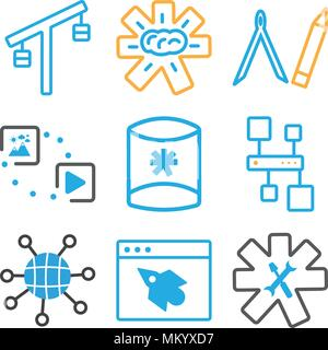 Set Of 9 simple editable icons such as Settings, Browser, Internet, Hierarchical structure, Server, Multimedia option, Compass, Brain, Balance, can be - Stock Photo