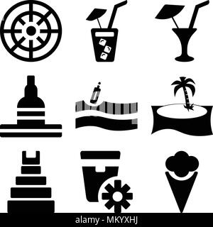 Set Of 9 simple editable icons such as Two Ice Creams, Sun ointment, Teotihuacan, Palm tree, Message In a Bottle On the Water, Great buddha of thailan - Stock Photo