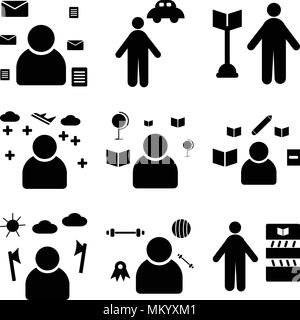 Set Of 9 simple editable icons such as Librarian, Athlete, Lumberjack, Writer, Teacher, Pilot, Surgeon, Chauffeur, Postman, can be used for mobile, we - Stock Photo