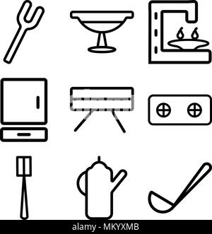 Set Of 9 simple editable icons such as Ladle, Kettle, Brush, Stove, Table, Cabinet, Coffee maker, Platter, Fork, can be used for mobile, web - Stock Photo