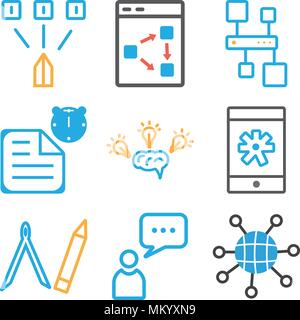 Set Of 9 simple editable icons such as Internet, User, Compass, Smartphone, Idea, File, Hierarchical structure, Strategy, , can be used for mobile, we - Stock Photo