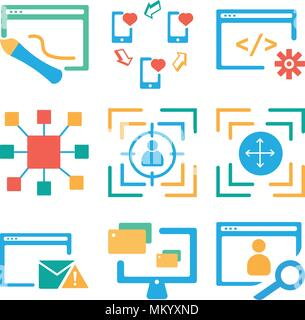 Set Of 9 simple editable icons such as Browser, Monitor, Expand, Target, Resize, Smartphone, can be used for mobile, web - Stock Photo