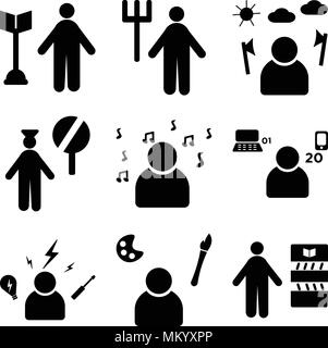Set Of 9 simple editable icons such as Librarian, Painter, Electrician, Programmer, Professor, Police, Lumberjack, Gardener, Surgeon, can be used for  - Stock Photo