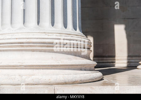 Close up of plinth in classical style architectural column. - Stock Photo