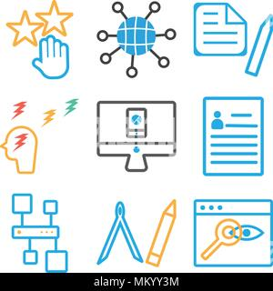 Set Of 9 simple editable icons such as Browser, Compass, Hierarchical structure, Curriculum, Analytics, Thinking, Clipboard, Internet, Rating, can be  - Stock Photo