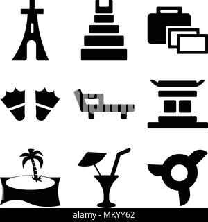 Set Of 9 simple editable icons such as Propeller, Limonade with Drop, Palm tree, Chinese temple, Deck chair, Two Flippers, Suitcase, Teotihuacan, Eiff - Stock Photo