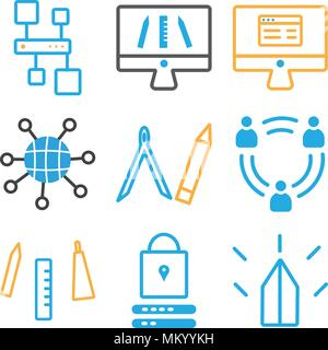 Set Of 9 simple editable icons such as Password, Creativity, Teamwork, Compass, Internet, Monitor, Hierarchical structure, can be used for mobile, web - Stock Photo