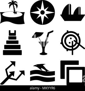 Set Of 9 simple editable icons such as Polaroids, Sunset and Dolphin, Small Trident, Radar Working, Limonade with Drop, Teotihuacan, Sailboat Sailing, - Stock Photo