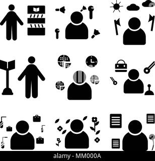 Set Of 9 simple editable icons such as Politician, Gardener, Fisherman, Concierge, Courier, Surgeon, Lumberjack, Showman, Librarian, can be used for m - Stock Photo