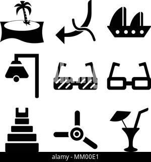 Set Of 9 simple editable icons such as Limonade with Drop, Propeller, Teotihuacan, Sunglasses, Big Boat Bell, Small Sailboat, Hook Worm, Palm tree, ca - Stock Photo