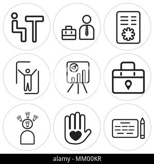 Set Of 9 simple editable icons such as Agreement, Heart, Speech, Placeholder, Presentation, Partner, Policy, Businessman, Meeting, can be used for mob - Stock Photo