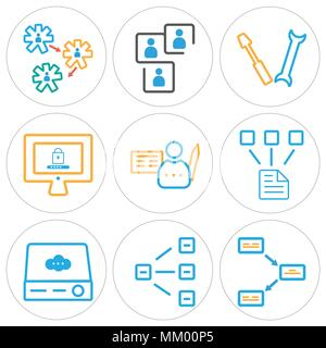 Set Of 9 simple editable icons such as File, Hierarchical structure, Server, Network, Contract, Password, Settings, Networking, can be used for mobile - Stock Photo