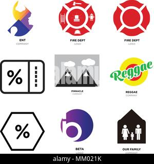 Set Of 9 simple editable icons such as our family, beta, Discount Percent, reggae, pinnacle, fire dept, ent, can be used for mobile, web - Stock Photo