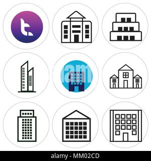 Set Of 9 simple editable icons such as Apartment, t, can be used for mobile, web - Stock Photo