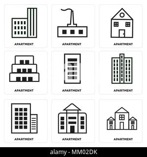 Set Of 9 simple editable icons such as Apartment, can be used for mobile, web - Stock Photo