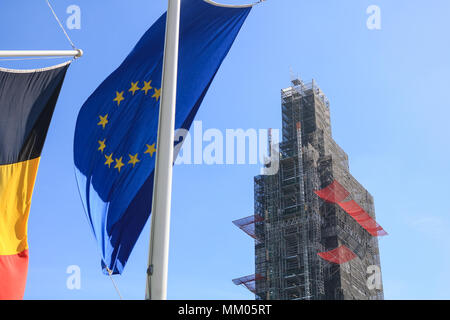 London UK. 9th May 2018. Flags of the European Union member states hang in Parliament Square to celebrate Europe Day Credit: amer ghazzal/Alamy Live News