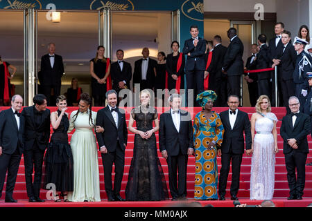 CANNES, FRANCE - MAY 08: Jury of festival de cannes - Kristen Stewart, Chang Chen, Ava DuVernay, Denis Villeneuve, Cate Blanchett, Robert Guediguian, Khadja Nin, Andrey Zvyagintsev, Lea Seydoux attends the screening of 'Everybody Knows (Todos Lo Saben)' and the opening gala during the 71st annual Cannes Film Festival at Palais des Festivals on May 8, 2018 in Cannes, France - Stock Photo