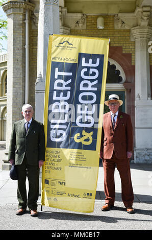 Brighton UK 9th May 2018 - Renowned artists Gilbert (left) and George visiting their exhibition at Brighton Museum and Art Gallery which is showing until September until September .  Photograph taken by Simon Dack Credit: Simon Dack/Alamy Live News - Stock Photo