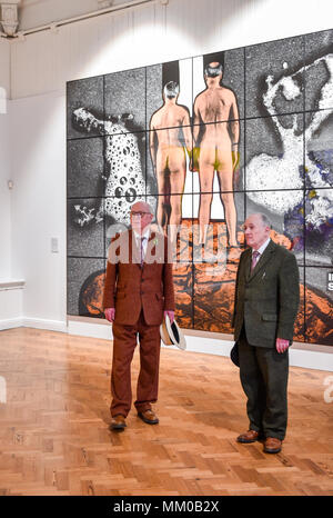 Brighton UK 9th May 2018 - Renowned artists Gilbert (right) and George visiting their exhibition at Brighton Museum and Art Gallery which is showing until September until September .   Credit: Simon Dack/Alamy Live News - Stock Photo