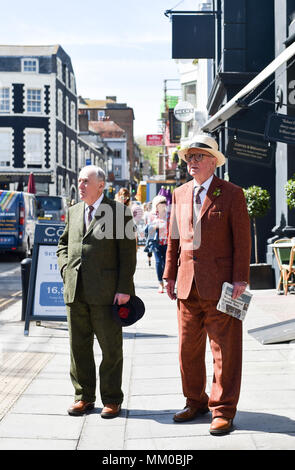 Brighton UK 9th May 2018 - Renowned artists Gilbert and George visiting their own exhibition at Brighton Museum and Art Gallery which is showing until September until September .  Photograph taken by Simon Dack - Stock Photo
