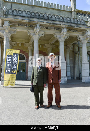 Brighton UK 9th May 2018 - Renowned artists Gilbert (left). and George visiting their own exhibition at Brighton Museum and Art Gallery which is showing until September until September .  Photograph taken by Simon Dack - Stock Photo